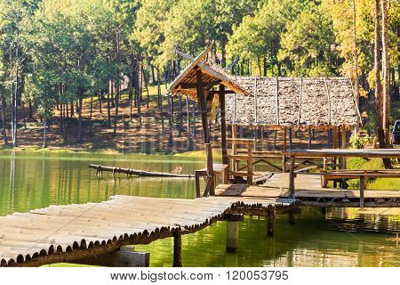 Bamboo Bridge And Gazebo At Pang Ung