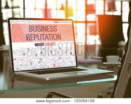 Business Reputation Concept on Laptop Screen.