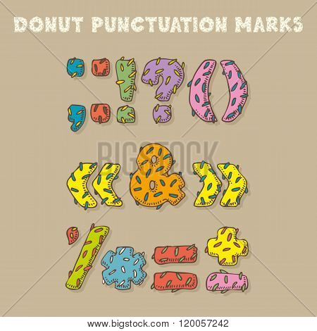 Punctuation Marks In Donut Style. Color Vector Font