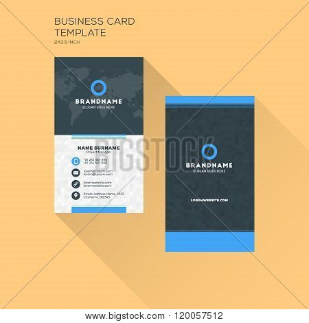 Vertical Business Card Print Template. Personal Business Card With Company Logo. Black And Blue Colo