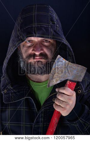 Hooded Tough Guy Holding Axe