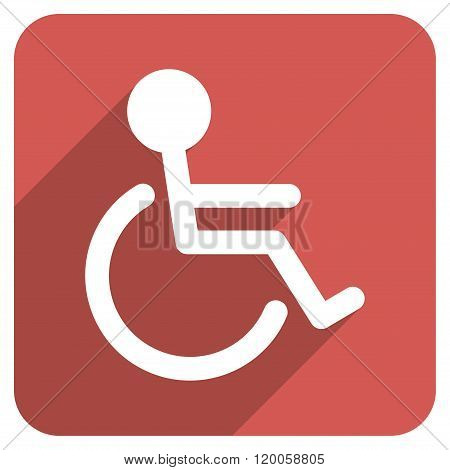 Handicapped Flat Rounded Square Icon with Long Shadow