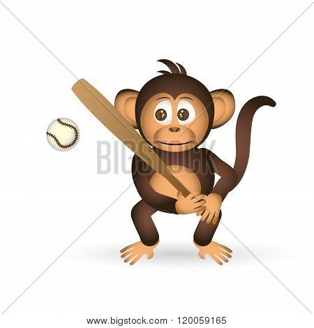 Cute Chimpanzee Holding Baseball Bat Sport Little Monkey  Eps10