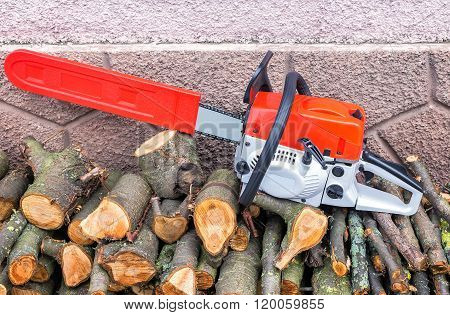 On a branch of the felled trees is a modern and powerful chainsaw. Located near the walls of the house.