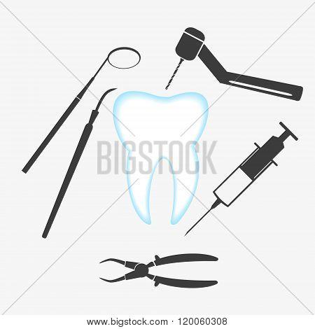 Tooth And Dental Examination Tools Set Eps10
