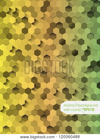 Abstract Background with honeycomb (Green). Vector