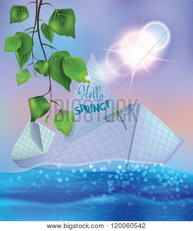 Paper ship swims on spring brook and branch of birch. Vector illustration