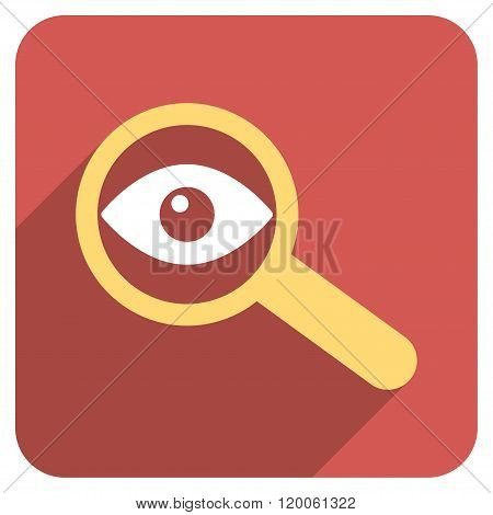 Investigate Vision Flat Rounded Square Icon with Long Shadow