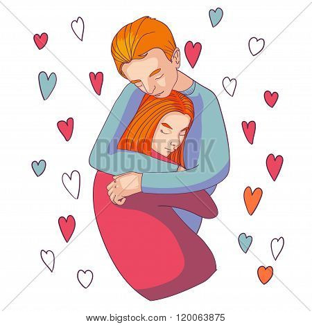 Man And Woman Hugging Lovingly