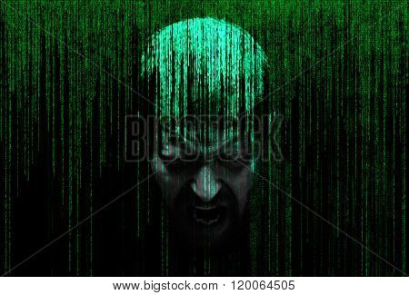 male person screaming in the security concept matrix of binary code