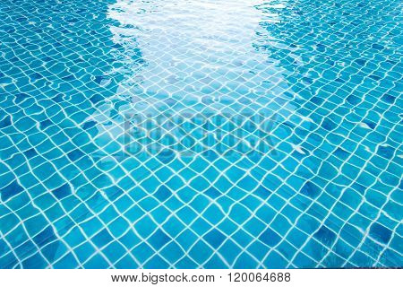 Blue Swimming Pool With Sunny Reflections Abstract For Background