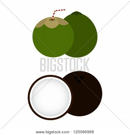 Brown And Green Coconuts
