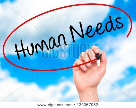 Man Hand Writing Human Needs With Black Marker On Visual Screen.