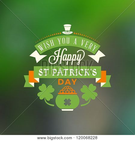 St. Patricks Day Holiday Badge Design. Vector Greetings Card Design. Saint Patricks Day Background.