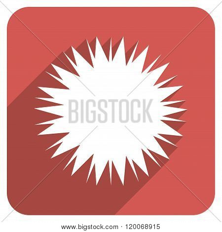 Microbe Spore Flat Rounded Square Icon with Long Shadow