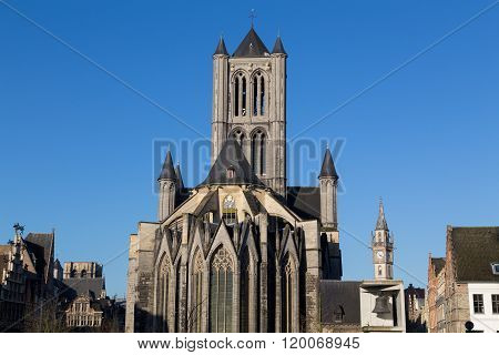 Saint Nicholas' Church in Ghent City Center on a bright clear day. There is space for text.