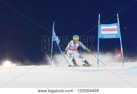 Felix Neureuther Skiing At A Slalom Event