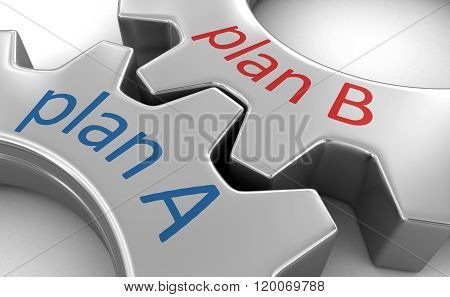 Business concept on the gearwheels. Image with clipping path