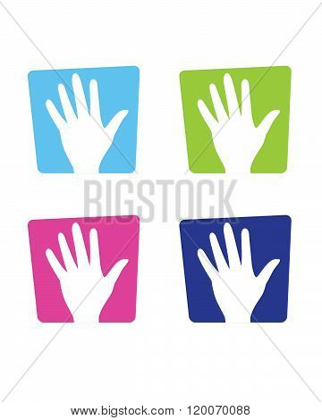Colourful Vector Raised Hand Symbol and Icon Set