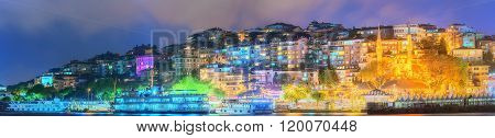 Panorama of Istanbul and Bosporus at night
