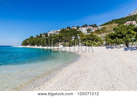 Beautiful Empty Sandy Beach During Sunny Summer Day - Baska Voda Makarska Dalmatia Croatia