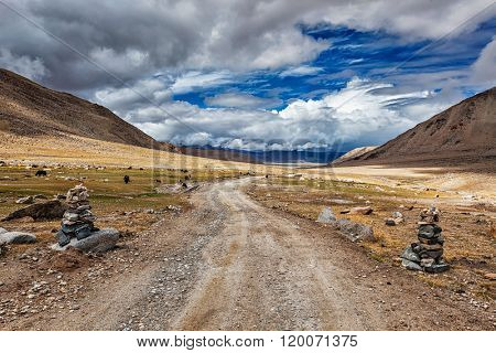 Road in Himalayas marked with stone cairns. Ladakh, India