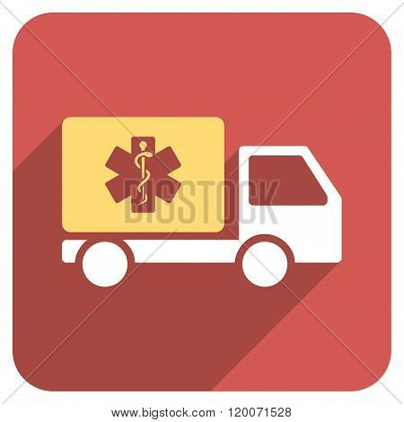 Medical Shipment Flat Rounded Square Icon with Long Shadow
