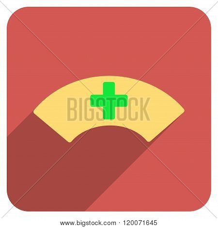 Medical Visor Flat Rounded Square Icon with Long Shadow
