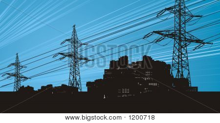 Electrict Power Lines And City Scape