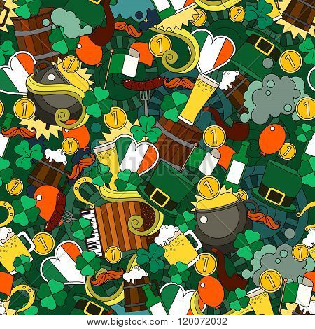 Fun bright and original Saint Patricks Day greeting pattern made in the doodle style. Vector. St Pat