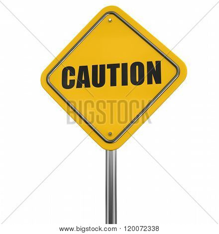 Caution Road sign. Image with clipping path