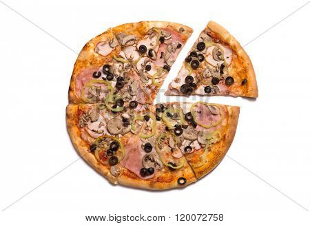 Tasty Italian pizza with ham, one slice removed, top view isolated on white background