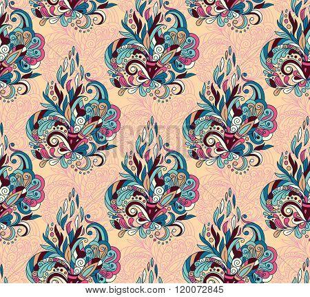 Seamless pattern with mehendi elements. Vintage background in indian batik style. Floral vector illustration in pastel blue pink orange tone.