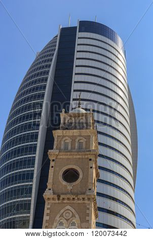 Sail Tower With Old Cathedral, Downtown, Haifa Bay