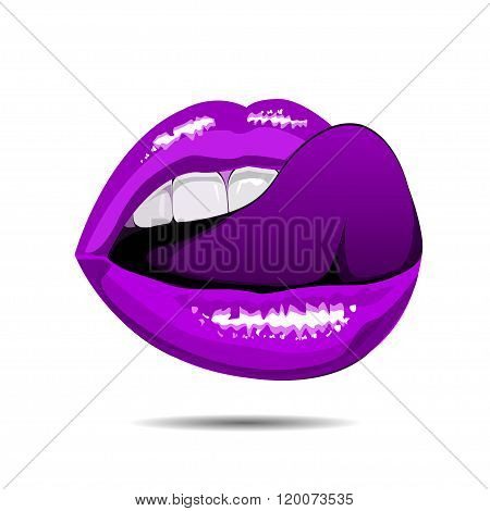 female violet disco lips on white backgroud. Vector illustration. EPS
