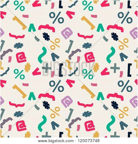 Seamless pattern with signs, comma, brackets, hashtag, point, interest, at sign.