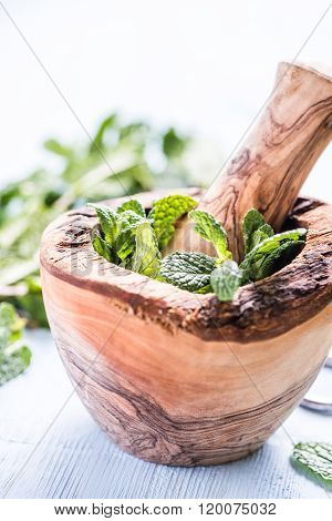 Fresh Mint On Wooden Table