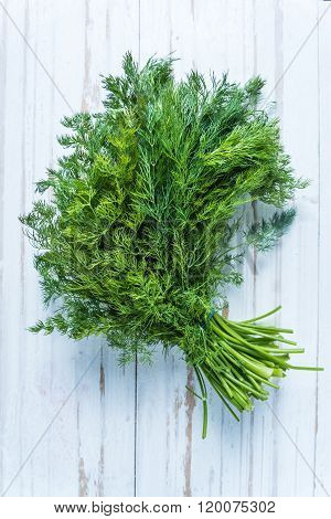 Fresh Dill From Garden On Wooden Table
