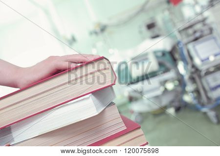 Stack Of Book In Hospital Ward, Concept Of Professional Development