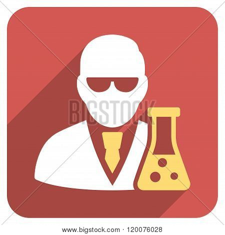 Scientist With Flask Flat Rounded Square Icon with Long Shadow