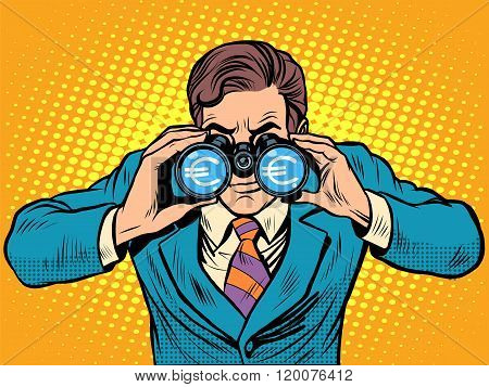 Financial monitoring of currency Euro businessman binoculars