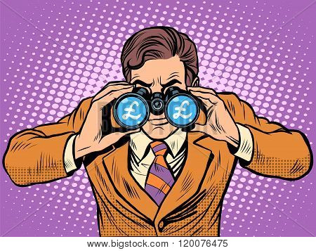 Financial monitoring of currency pound businessman binoculars