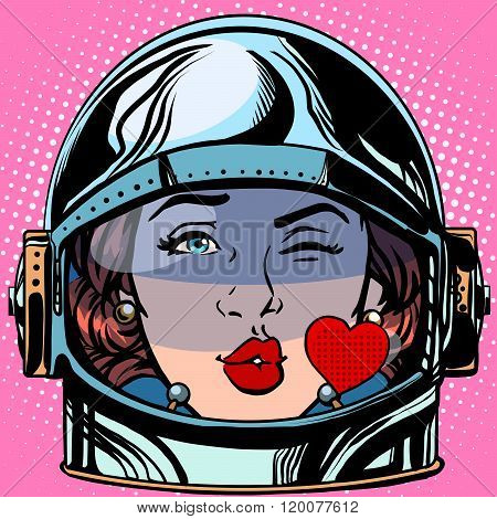 emoticon kiss love Emoji face woman astronaut retro