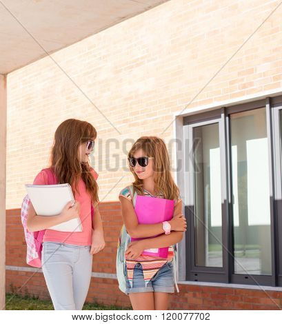 Young Girls At School Campus