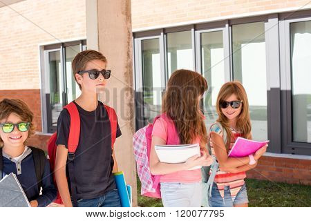 Kids Walking At School Campus