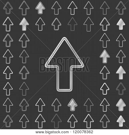 Silver line arrow icon design set