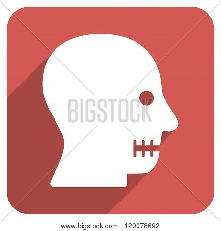 Sewn Mouth Flat Rounded Square Icon with Long Shadow
