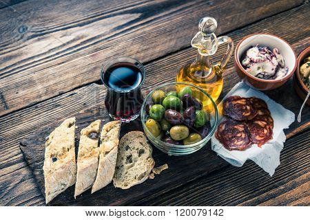 Authentic Spanish Tapas On Wooden Board, Tonned Picture