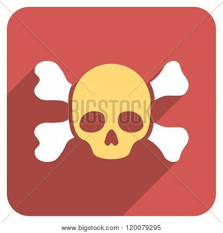 Skull and Bones Flat Rounded Square Icon with Long Shadow