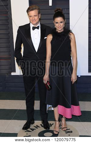 BEVERLY HILLS - FEB 28: Colin Firth, Livia Giuggioli at the 2016 Vanity Fair Oscar Party on February 28, 2016 in Beverly Hills, California